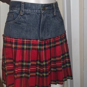 Design lab denim and plaid pleated skirt